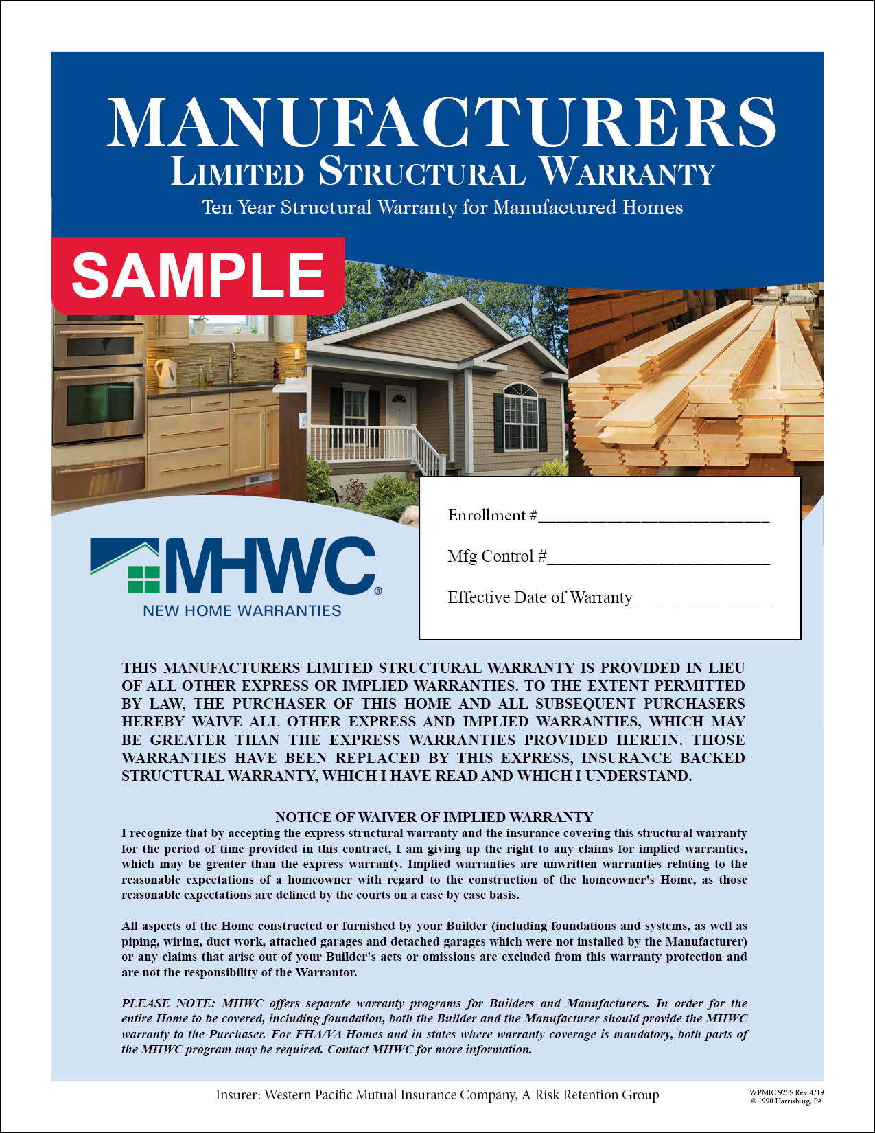MHWC Structural Only HUD-Code Manufacturer's Warranty